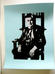 Electric Chair Edison - Edition of 20. 2 layer screen print on light blue 100 lb French Paper. 19 x 25.  $30