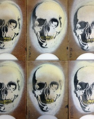 'Soul Skull' is a varied edition of 8 paintings. Each one is hand painted, stenciled and scratched on to wooden shelf panels from and abandoned hospital. They are just £15 each. ($24.86)