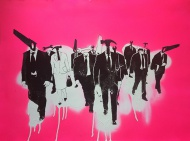 """Screenprint featuring unique hand sprayed Backgrounds + UV/Matte Finish on 300gsm paper 77x57cm (31x23"""") Each print is unique, handsprayed and -finished. Edition of 10. $100"""