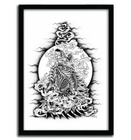 HOWLING WOLF by BIOWORKZ (USA). Serie of 50 Prints with certificate of authenticity signed.  Support : Fine Art Paper 300g Innova  Poster design by our workshop in Limoges (France). $43