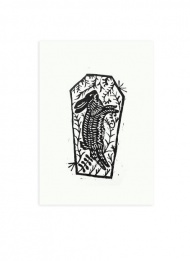 Image of Rowan's Grave by Bob2 £30.00 ($48.70)  Hand printed Lino cut.  Edition of 10 on heavy stock.  signed / stamped / numbered  300 x 250 mm  When Sergeant Howie is called to Summerisle to investigate the disappearance of Rowan Morrison, he is inevitably led to a cemetery and grave where the locals say she is buried. Upon exhuming the casket, though, he doesn't find human remains. Instead he discovers a hare of the field.