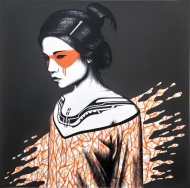 """On 16th of september at 4pm (CET) Pretty Portal will release FinDAC´s latest screen print. """"Tanana"""" (Orange) is a 5 layer screenprint on 70 x 70cm Somerset Velvet 280gsm. Edition of 90. Signed, numbered and embossed by the artist. Price: $325. The beauties will drop on 16th of september, 4pm (CET) at http://shop.prettyportal.de/"""