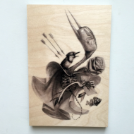 """Still I'm Grateful by Greg Craola Simkins 6 x 9 in. (2.36 x 3.54 cm)  Fine art wood print on 3/4"""" sustainable Birch, natural gloss finish  Signed and numbered $68"""