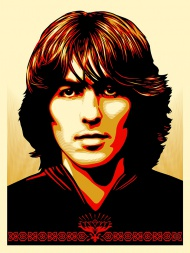 """Poster For George  18×24"""" Screen Print, Signed and Numbered Color Edition of 400. $65 each, limit 1 per person/household.  Photo by: Astrid Kirchherr  Release date: 10/23/14 at a random time between 10am and 12noon PST through Obey giant web store"""