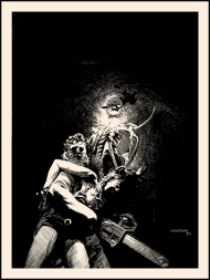 """""""Dark as a Dungeon"""" by Bernie Wrightson- On Sale info!  This print will be for sale HERE at 2pm Central time TUESDAY 10/21 in the Bernie Wrightson section of the Nakatomi store.  Just in time for Halloween! Master Illustrator, Bernie Wrightson drew this piece way back in 1975- and here it is available as an art print for the VERY FIRST TIME!  This print measures 18×24 and is signed by Bernie in a numbered edition of only 75 for $40.  We will also have a 'BLOOD RED' edition of 25 available on Red French brand paper for $50-"""