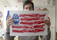 United Tastes Of America by Jon Burgerman  18 x 12 Inches 2-Color Screen Print on 130lb Mohawk Vellum Fine Art Paper 23 Pieces Of Original Artwork Also Available NOW! $50 on up