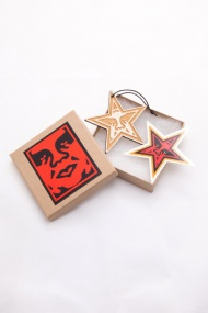 """OBEY HOLIDAY STAR ORNAMENT 3"""" wide x 1/4"""" thick. Both sides are laser etched on birch plywood. Comes with a leather cord attached for easy hanging and a star sticker just for fun. Made by an artisan in Los Angeles, CA  $15"""