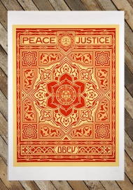 Shepard Fairey   Title: Peace & Justice   About the print:  digital print on archival Canson Mi-Teintes paper  13″x19″ paper size  edition of 250  embossed by Braddock Tiles