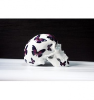 SKULL PURPLE BUTTERFLY BY NOON  Porcelain Limoges France $311