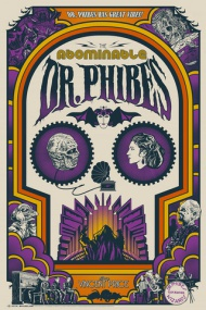 """The Abominable Dr. Phibes - Art Deco - $50 Size 24"""" x 36"""" Edition size of 135 4 Colors printed on French Speckle Tone Madero Beach     The Abominable Dr. Phibes - Night Vengeance - $40 Size 18"""" x 24"""" Edition size of 95 3 Colors printed on Mohawk Cream Featuring Metallic Gold and Silver Inks     ON SALE TUESDAY DEC 16th at 12:00PM EST"""