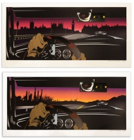 D*Face 'Rear View' 3 layered , 17 coloured screen print  48 x 100 cm Each print set comes with one die cut foreground 'driver' and both London & California backgrounds.  One print per household.  £500.00 ($783.10)