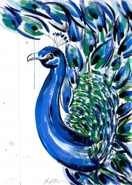 """This long awaited print titled PAVO is PCP's most ambitious print edition to date. With our largest color count and print size, PAVO is ten colors and measures 24"""" x 36"""" inches. The colors are even more vibrant in person and sure to ruffle a few feathers...       PAVO   24 x 36 inches  Limited Edition of 75  Each Print is signed by Jenna Snyder-Phillips  Ten-color hand pulled silkscreen on 100% cotton archival paper.  Prints are numbered, embossed and exclusive to Poster Child Prints, validated by a Certificate of Authenticity.   $250"""