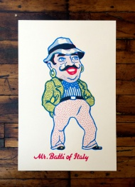 """Mr. Batti of Italy"" is a three color screen print on a 280gsm manilla print making paper.