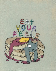 """Eat Your Feels"" is an edition of 50 prints by Deth P. Sun. With a small border for framing, the print measures 8"" wide by 10"" tall. The archival print was created by Tiny Showcase and ships with a corresponding certificate of authenticity. The archival artwork has been printed on a heavy 290gsm natural white print making paper made from 90% bamboo fibres and 10% cotton.