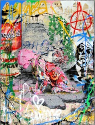 In addition to the edition print, eight 1 of a kind variations will go on sale. Seventeen-color screen-print on archival paper with collage background and hand finished with mixed media. Signed on front and back. Certificate of Authenticity will be shipped with print.  Untitled by Mr Brainwash Print Size: 38in. x 50in. Price: $3500 each  AVAILABLE FRIDAY, MAY 22nd at 12pm PDT