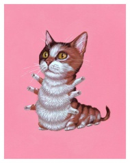 """Casey Weldon - """"Calico Cat""""  Fine art giclee print Produced with archival Epson HDR inks Printed on our Italian 300# watercolor paper Limited to only 100 copies Hand numbered and signed 8"""" x 10"""" $19.95"""