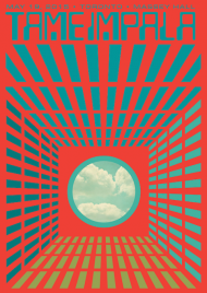 """TAME IMPALA Toronto, ON - May 19, 2015 Artwork by Kii Arens 18"""" x 24"""" Fluorescent Lithograph Signed/Numbered series of 100 $40"""