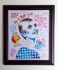 """""""DONT LET HER FART IN YOUR SOUP""""  Original Marker pen and pencil on paper (28cm x 23cm)  Spray painted frame Frame size 14"""" x 12"""""""