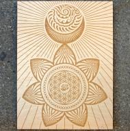 Ganas Sun Moon Laser Etch on Wood Panel $200.00  18x24 inch Laser Etch on Wood Panel  Edition of 10  Signed and Numbered by Artist