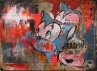 'UNTITLED' BY FLAVIO FALENA £600.00  MixMedia on canvas (Stencil, Collage, Oil, Acrylic, Aerosol & Wax on Canvas )  30cm x 40cm