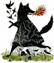"""""""Black Fox"""" is an edition of 100 prints by Diana Sudyka. The print is sized to fit a standard 8"""" by 10"""" frame. The archival print was created by Tiny Showcase and ships with a corresponding certificate of authenticity. The archival artwork has been printed on a heavy 290gsm natural white print making paper made from 90% bamboo fibres and 10% cotton.  $25"""